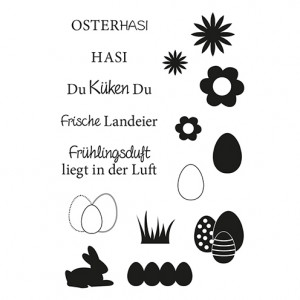 Stempel Clear, Ostern 3, A7 / 74 x 105 mm, 16 - teilig, transparent
