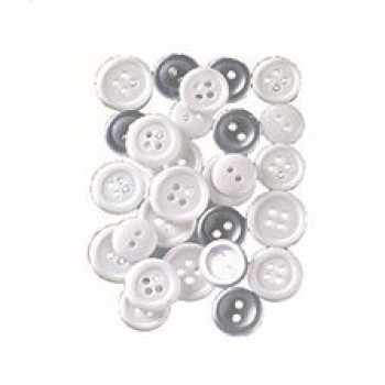 Knopf, White, 10 - 15 mm, 40 g, weiss / transparent
